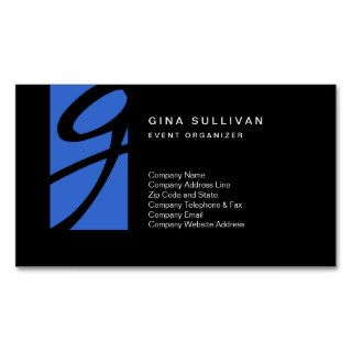 Color Tab Monogram Event Organizer Business Card