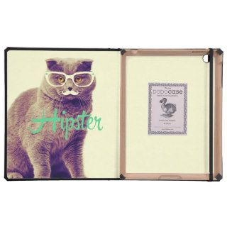 Turquoise Funny Cat Cute Hipster Glasses Mustache iPad Folio Cases
