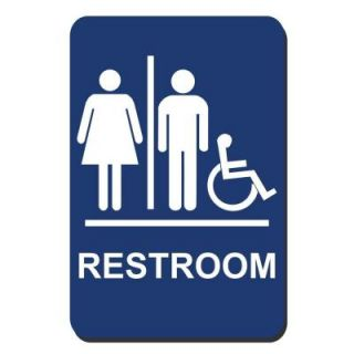 Lynch Sign 6 in. x 9 in. Blue Plastic Restroom Braille Accessible Sign UNI 10