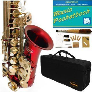 360 RD   RED/Gold Alto Saxophone Lazarro+11 Reeds,Music Pocketbook,Pro Case and Care Kit   12 COLORS Available  CLICK on LISTING to SEE All Colors Musical Instruments