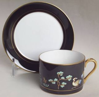 Fitz & Floyd Chinoiserie Flat Cup & Saucer Set, Fine China Dinnerware   Pagoda,B