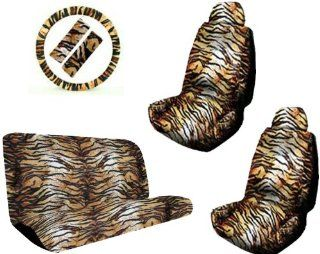 Tan Tiger Animal Print Safari Stripes Car Truck SUV Universal Fit Bucket Seat Covers Bench Seat Cover Steering Wheel Cover & Shoudler Belt Pads Auto Accessories Interior Combo Kit Gift Set   11PC Automotive