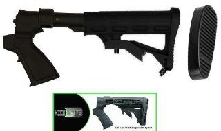 Ultimate Arms Gear Tactical Stealth Black Mossberg 500 500A 590 835 Maverick 88 12 &20 Gauge Shotgun Skeleton Stock Buttstock Set With Sling Swivel + Recoil Buttpad + Rear Pistol Grip & Featuring Patented Phoenix Technology Kicklite Recoil Reductio