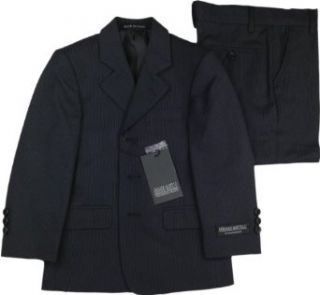 ARMANDO MARTILLO Boys Navy Pinstripe 3 Piece HUSKY Suit   605 PV5N   Navy, 8 Husky: Clothing