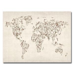 Trademark Fine Art 24 in. x 32 in. World Map   Swirls Canvas Art MT0129 C2432GG