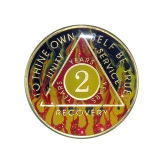 2 Year Premium Enamel AA (Alcoholics Anonymous)   Sober / Sobriety Birthday   Anniversary Recovery Medallion / Coin / Chip   Red Flame : Other Products : Everything Else