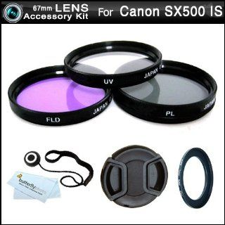 67mm Multi Coated 3 Piece Filter Kit (UV CPL FLD) For The Canon PowerShot SX500 IS, SX500is Digital Camera + Necessary Ring Adapter (67mm) + Snap On Lens Cap + Lens Cap Keeper + MicroFiber Cleaning Cloth  Camera Lens Filter Sets  Camera & Photo