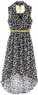Beautees Girls 7 16 Belted Shirt Dress with Crinolin Hem, Black, Medium Clothing