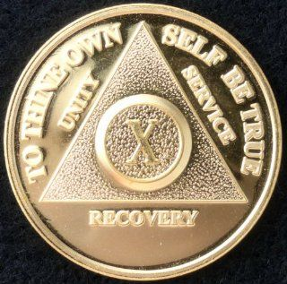 Gold Plated   15 Year (XV) Alcoholic Anonymous Anniversary Medallion: Everything Else