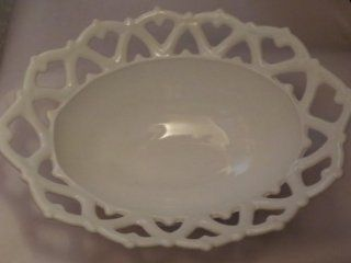 """White Milk Glass Lattice Work Footed Oval Fruit Bowl ?Westmoreland    10.25"""" x 8"""" x 4""""    Lattice Works are Hearts    as shown  Decorative Bowls"""