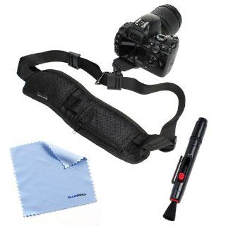 BIRUGEAR LCD Lens Pen + Black DSLR Camera Neck/Shoulder Belt Strap with Quick Setup Plate + Microfiber Cleaning Cloth for Canon SX510 HS, SX50 HS, EOS 70D, 6D, SX500 IS, XT XTi XS XSi T1i T2i T3i T3 T4i; Nikon D5200 D3200 D5100 D800 D4; Pentax X 5 645Z and