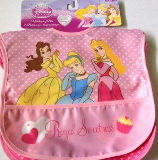 "Disney Princess ""Royal Sweetness"" Cinderella * Belle * Aurora * 2 Count Waterproof Bib Set of 2 Princesses Bibs Toddler, Girl"