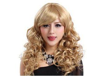 Side Swept Bangs Tight Curls Long Blonde Capless Wig +  Worldwide  Hair Replacement Wigs  Beauty