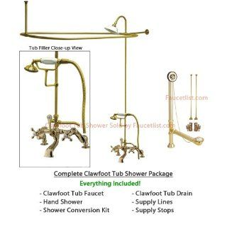 Brass Clawfoot Tub Shower Kit. Polished Brass Clawfoot Tub Faucet Shower Kit with Enclosure Curtain Rod  657T2CTS Bathtubs sign crab supercoated brass deck tub on PopScreen nickbarron co 100 Images My Blog