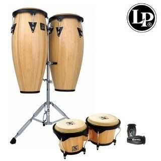 Latin Percussion LPA646K 900 KIT 1 LP Aspire 10 Inch and 11 Inch Wood Conga Set with Bongos, Natural Finish with 10 Inch Quinto, 11 Inch Conga, 6 3/4 and 8 Inch Bongos, Double Stand and LP201BK p LP Rumba Shaker: Musical Instruments