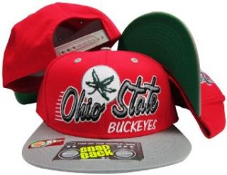 Ohio State Buckeyes Gray/Red Two Tone Plastic Snapback Adjustable Plastic Snap Back Hat / Cap Clothing