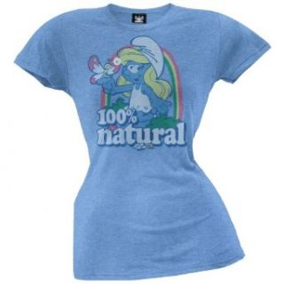 Smurfs   Womens Natural Juniors T shirt Medium Blue: Clothing