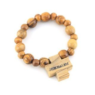 Holy Land Handmade Religious Olive Wood 8/12mm Beads Rosary Bracelet on Elastic Band Unique Rosary Jewelry