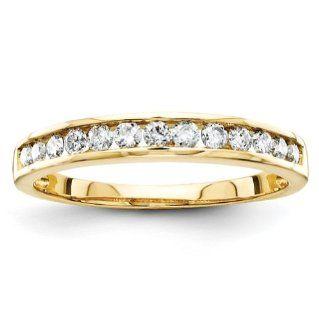 14k Yellow Gold Diamond Bridal Band Ring: Jewelry