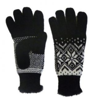 Isotoner Womens Black & White Knit Chenille Snowflake Knit Gloves Microluxe at  Women�s Clothing store: Cold Weather Gloves