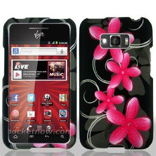 LG Optimus Elite LS696 LS 696 Black with Pink Floral Flowers Black Swirl Vines Design Snap On Hard Protective Cover Case Cell Phone Cell Phones & Accessories