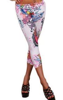 Sexy Colorful Prints Fashion Leggings Tights Pants Jegging (White Cropped Punk) Patriotic Fabrics Clothing
