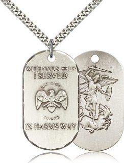 Sterling Silver National Guard Pendant: Pendant Necklaces: Jewelry