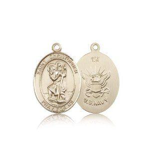 Saint Christopher / Navy Pendants   14kt Gold St. Christopher / Navy Medal: Jewelry