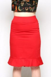 Heartbreaker Fashion Pin Up Retro Style Red Pencil Skirt Womens Sizes Large