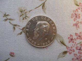 CINCO PESOS 1959 SILVER COIN (ANO DE CARANZA 1859 1959 18.055 GRAMS LEY .720)