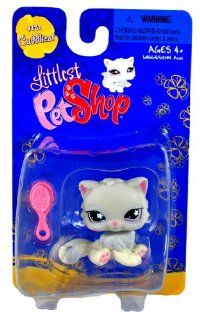 Hasbro Year 2008 Littlest Pet Shop Single Pack Cuddliest Series Bobble Head Pet Figure Set #722   GREY PERSIAN CAT with Brush Toys & Games