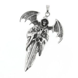 WithLoveSilver Solid Sterling Silver 925 Skull Messenger of Death Holding Sword Satan Wings Pendant Jewelry