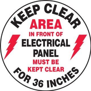 "Accuform Signs MFS729 Slip Gard Adhesive Vinyl Round Floor Sign, Legend ""KEEP CLEAR AREA IN FRONT OF ELECTRICAL PANEL MUST BE KEPT CLEAR FOR 36 INCHES/MANTENGA DESPEJADO EL AREA EN FRENTE DEL CUADRO ELECTRICO DEBE PERMANECER LIBRE POR 36 PULGADAS&quot"