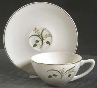 Edwin Knowles Forsythia Flat Cup & Saucer Set, Fine China Dinnerware   Yellow Fl