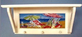 "Painted Glass Beach Scene White Wood Shelf With Pegs 18.5"" X 6"" X 8.5""   Furniture"