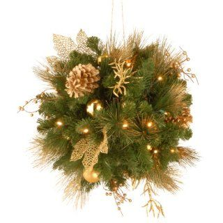 National Tree DC13 109L 20B Decorative Collection Elegance Kissing Ball with 30 Soft White LED Battery Operated Lights, 20 Inch   Christmas Ball Ornaments