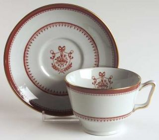 Spode Newburyport Red (Gold) Footed Cup & Saucer Set, Fine China Dinnerware   Re