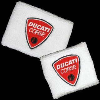 Ducati Corse White Brake and Clutch Reservoir Sock Cover Set Fits 748, 749, 848, 848 Evo, 916, 996, 998, 999, 1098, 1198, ST2, ST3, ST4, Streetfighter, Hypermotard, Multistrada, Monster 1100: Automotive