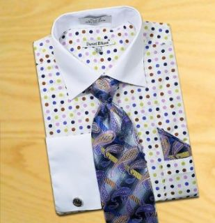 Daniel Ellissa White / Blue / Olive / Purple Polka Dots Shirt / Tie / Hanky Set With Free Cufflinks DS3769P2 (L  16 16.5) at  Men�s Clothing store Dress Shirts
