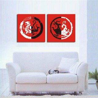 Home furnishing mural dragon white tiger canvas modern art of two pieces