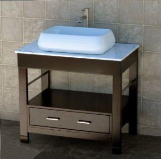 """Bathroom Vanity 36"""" Bathroom Vanity Cabinet white Marble Top Sink Faucet CG4 Industrial & Scientific"""