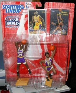 SHAQUILLE O'NEAL / LOS ANGELES LAKERS & KAREEM ABDUL JABBAR / LOS ANGELES LAKERS 1997 NBA Classic Doubles Kenner Starting Lineup Sports Superstar Collectibles & Exclusive NBA Trading Cards: Toys & Games