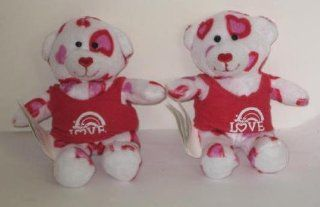 SET of 2 Hearts Fur You Teddy Build a Bear Workshop Mcdonalds Happy Meal Toys: Toys & Games