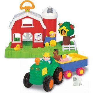 Kiddieland Farm & Tractor Set with 5 Farm Animals & 1 Farmer Figure Toys & Games