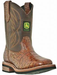 Boy's John Deere Croc Print Western Boots BROWN 5 M: Shoes