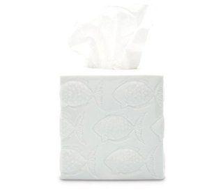 White Ceramic Geometric Fish Tissue Box Holder   Soap Dishes