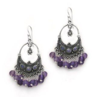 "Sterling Silver Bohemian ""Arya"" Shell Inlay and Semi precious Stones Cluster Earrings, Amethyst: Jewelry"