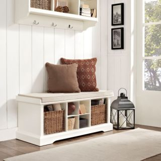 Crosley Brennan Entryway Storage Bench   White   Indoor Benches
