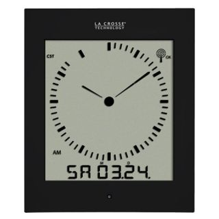 La Crosse Technology Analog Style Digital Atomic Clock   Black   Atomic Clocks