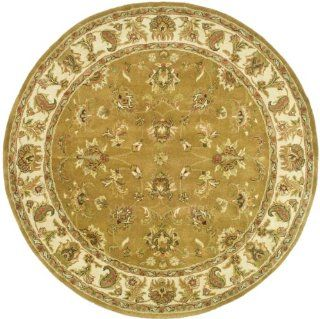 Safavieh HG816A Heritage Collection 6 Feet Handmade Hand spun Wool Round Area Rug, Mocha and Ivory